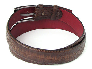 Men's Crocodile Embossed Calfskin Leather Belt Hand-Painted Brown