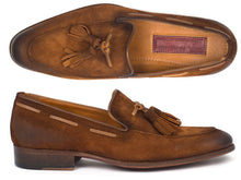 Load image into Gallery viewer, Paul Parkman Men's Tassel Loafer Brown Antique Suede Shoes (ID#TAB32FG)