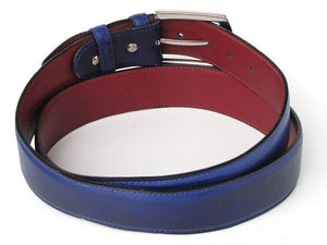 Men's Leather Belt Hand-Painted Cobalt Blue