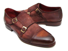 Load image into Gallery viewer, Paul Parkman Men's  Captoe Double Monkstrap Antique Brown Suede (ID#045BT11)