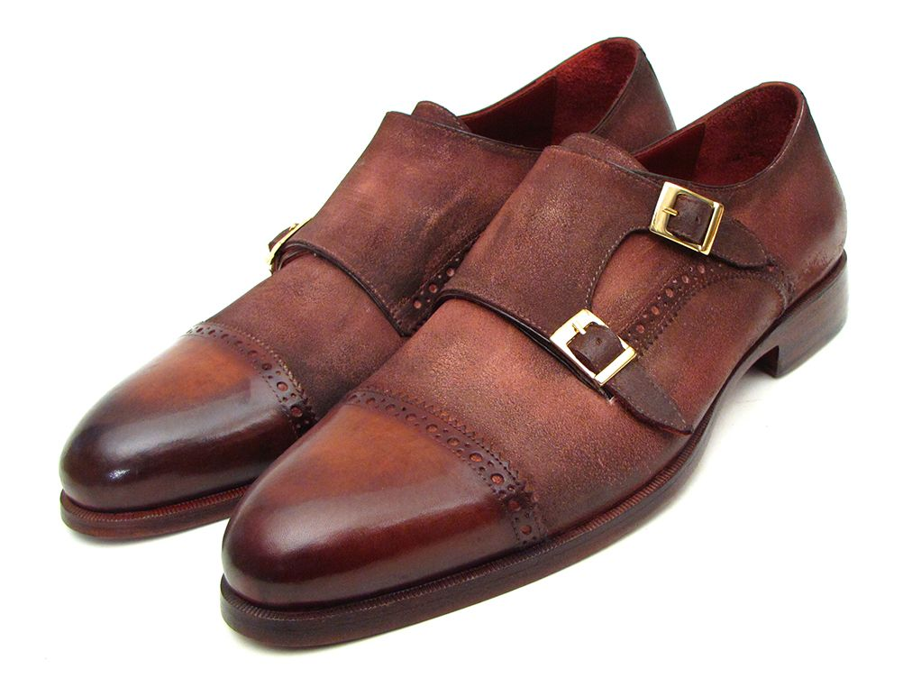 Paul Parkman Men's  Captoe Double Monkstrap Antique Brown Suede (ID#045BT11)