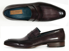 Load image into Gallery viewer, Paul Parkman Men's  Loafer Black & Gray Hand-Painted Leather Upper with Leather Sole (ID#093)