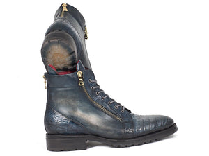 Men's Navy Genuine Crocodile & Calfskin Side Zipper Boots (ID#41CNV62)