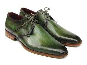 Paul Parkman Men's Green Hand-Painted Derby Shoes Leather Upper and Leather Sole (ID#059)