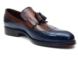 Paul Parkman Men's Kiltie Tassel Loafer Navy & Tobacco (ID#KT74NB)