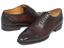 Load image into Gallery viewer, Paul Parkman Men's Brown Genuine Crocodile & Calfskin Oxfords (ID#CR244BRW)