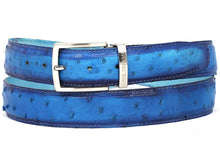 Load image into Gallery viewer, PAUL PARKMAN Men's Ocean Blue Genuine Ostrich Belt (ID#B04-OCEAN)