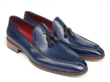Load image into Gallery viewer, Paul Parkman Men's Tassel Loafer Blue Hand Painted Leather (ID#083)
