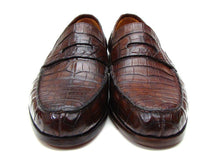 Load image into Gallery viewer, Paul Parkman Men's  Brown Genuine Crocodile Penny Loafers (ID#PN49LF)