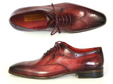 Load image into Gallery viewer, Paul Parkman Men's Wintip Oxfords Burgundy Handpainted Calfskin (ID#741-BUR)