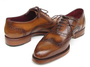Paul Parkman Men's  Wingtip Oxford Goodyear Welted Tobacco (ID#027)