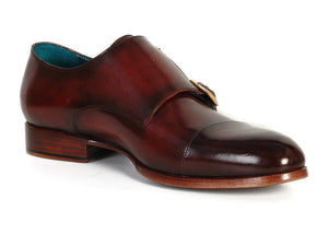 Paul Parkman Men's Cap-Toe Double Monkstraps Brol Dark Brown (ID#045)
