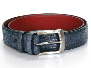 Men's Crocodile Embossed Calfskin Leather Belt Hand-Painted Cobalt Blue