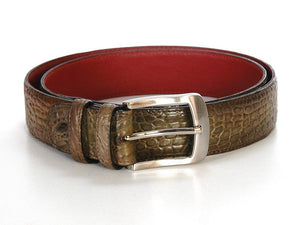 Crocodile Embossed Calfskin Leather Belt Hand-Painted Olive