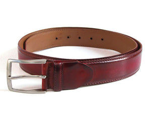 Men's Leather Belt Hand-Painted Bordeaux