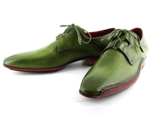 Paul Parkman Men's Ghillie Lacing Side Handsewn Dress Shoes - Green Leather Upper and Leather Sole (ID#022)
