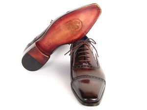Paul Parkman Men's Captoe Oxfords Anthracite Brown Hand-Painted Leather (ID#024)