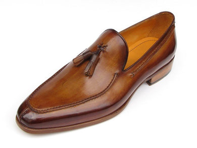 Paul Parkman Men's Tassel Loafer Camel & Brown Hand-Painted (ID#083)