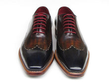 Load image into Gallery viewer, Paul Parkman Men's  Wingtip Oxford Goodyear Welted Navy Red Black (ID#081)