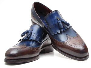 Paul Parkman Men's Kiltie Tassel Loafer Dark Brown & Navy (ID#KT44BN)