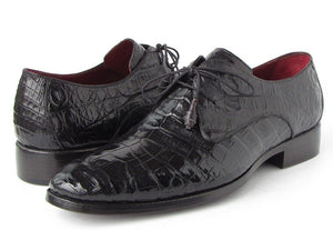 Paul Parkman Men's Black Genuine Crocodile Derby Shoes (ID#55W77)