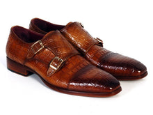Load image into Gallery viewer, Paul Parkman Men's  Double Monkstrap Brown Crocodile Embossed Calfskin (ID#PP2280)