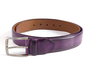 Men's Leather Belt Hand-Painted Purple