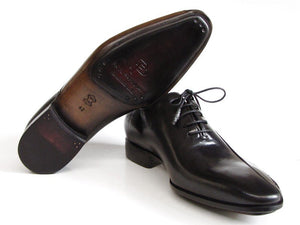 Paul Parkman Men's Black Leather Oxfords - Side Handsewn Leather Upper and Leather Sole (ID#018)