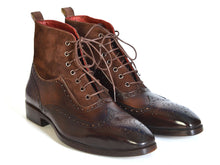 Load image into Gallery viewer, Paul Parkman Men's Wingtip Boots Brown Suede & Calfskin (ID#991-BRW)