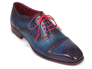 Paul Parkman Men's Captoe Oxfords Blue & Parliament (ID#024-PARL)