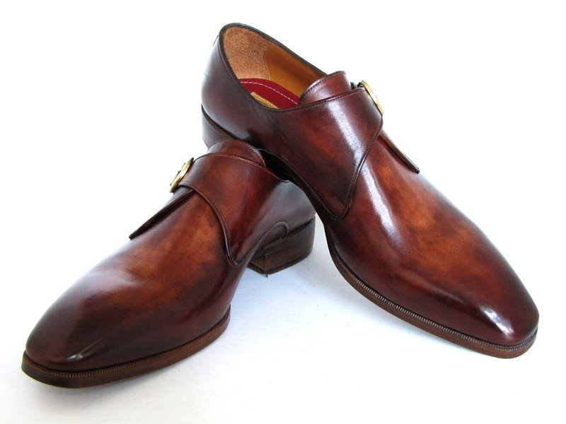 Paul Parkman Men's Monkstrap Dress Shoes Brown & Camel (ID#011B44)