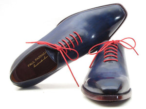 Paul Parkman Men's Goodyear Welted Wholecut Oxfords Navy Blue Hand-Painted (ID#044CR)