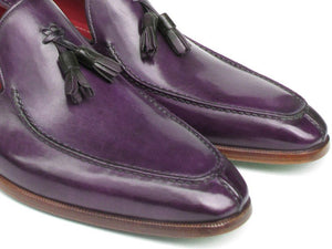 Paul Parkman Men's Tassel Loafer Purple Hand Painted Leather (ID#083)