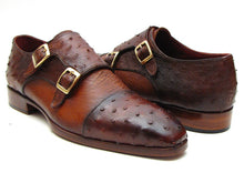 Load image into Gallery viewer, Paul Parkman Men's Brown & Tobacco Genuine Ostrich Double Monkstraps (ID#43K68)