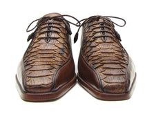 Load image into Gallery viewer, Paul Parkman Men's Brown Genuine Python & Calfskin Bicycle Toe Oxfords (ID#94DE14)