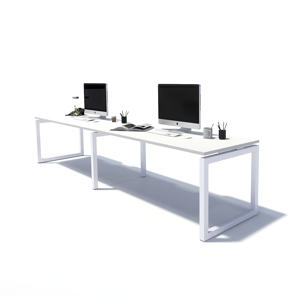 Gen O 2 Person Side by Side White Frame Workstation