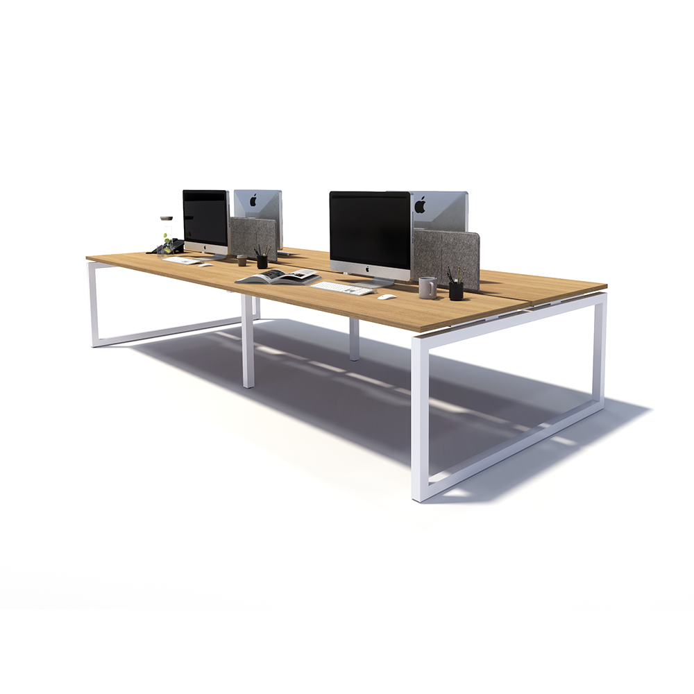 Gen O 4 Person Back to Back White Frame Workstation