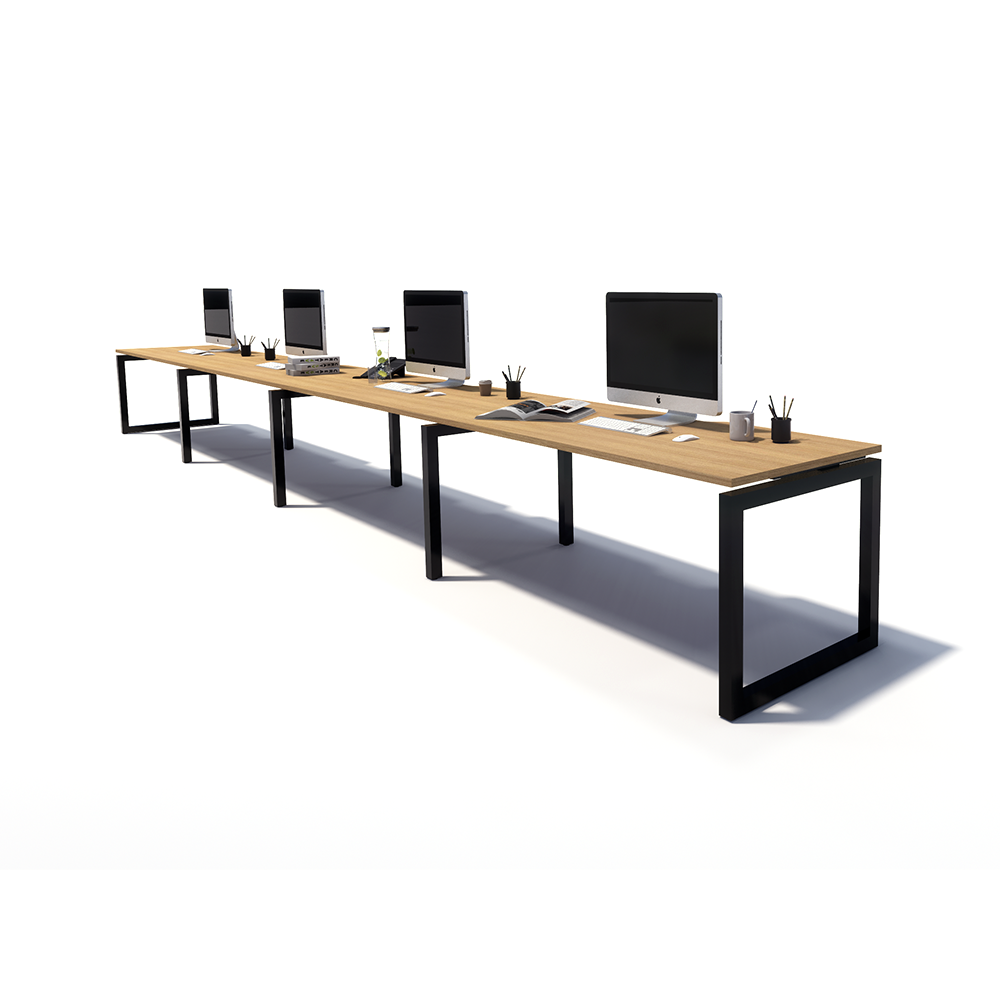 Gen O 4 Person Side by Side Black Frame Workstation