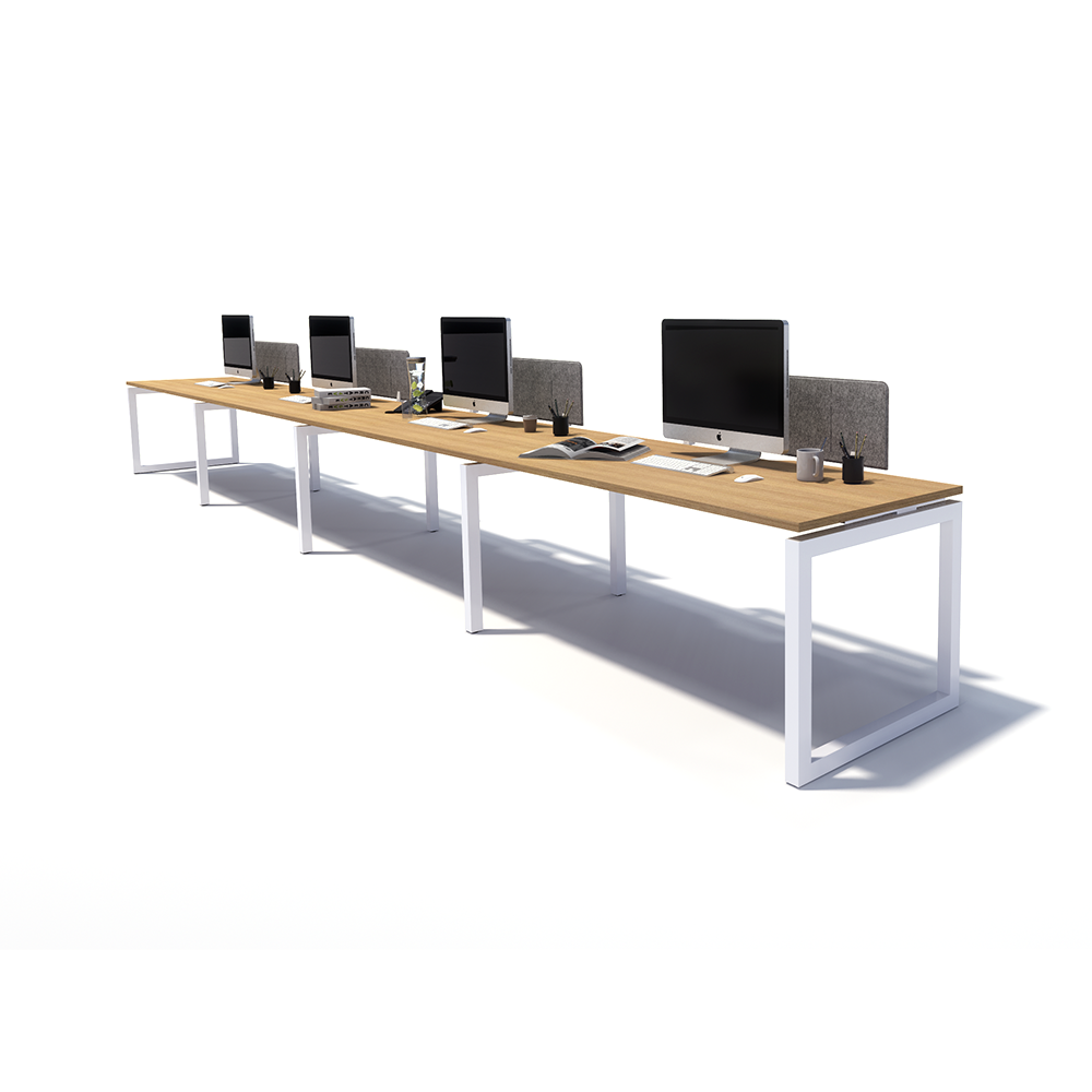 Gen O 4 Person Side by Side White Frame Workstation