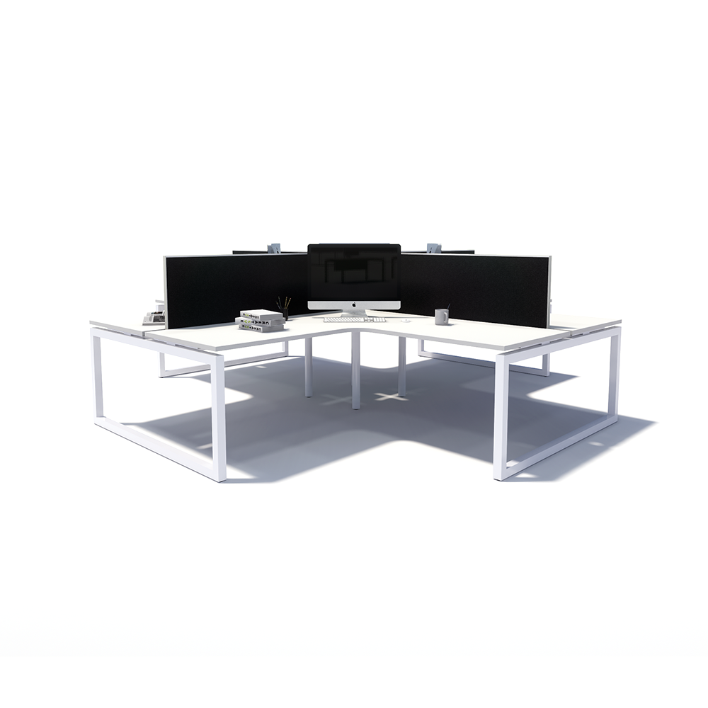 Gen O 4-way 4 Person White Frame Workstation