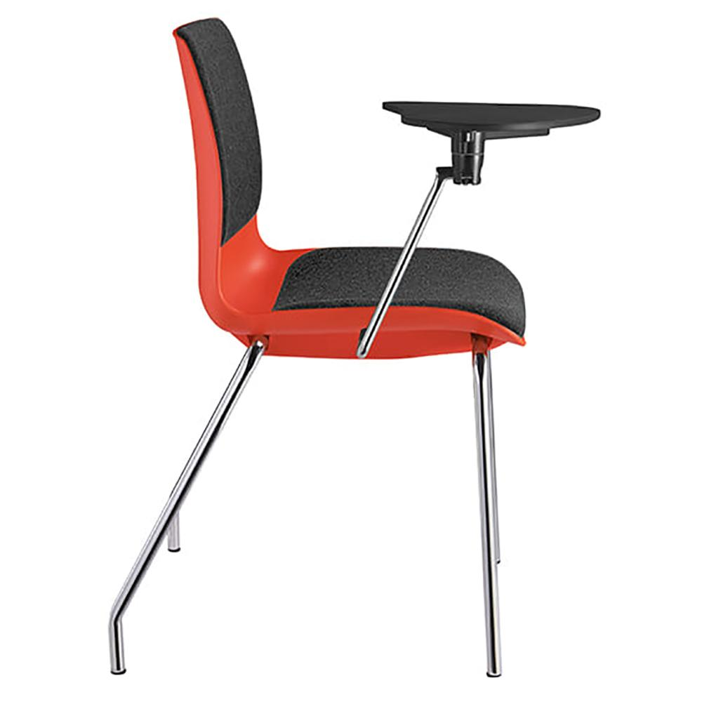 Pod 4 Leg Red Shell Upholster Training Chair with Tablet Arms