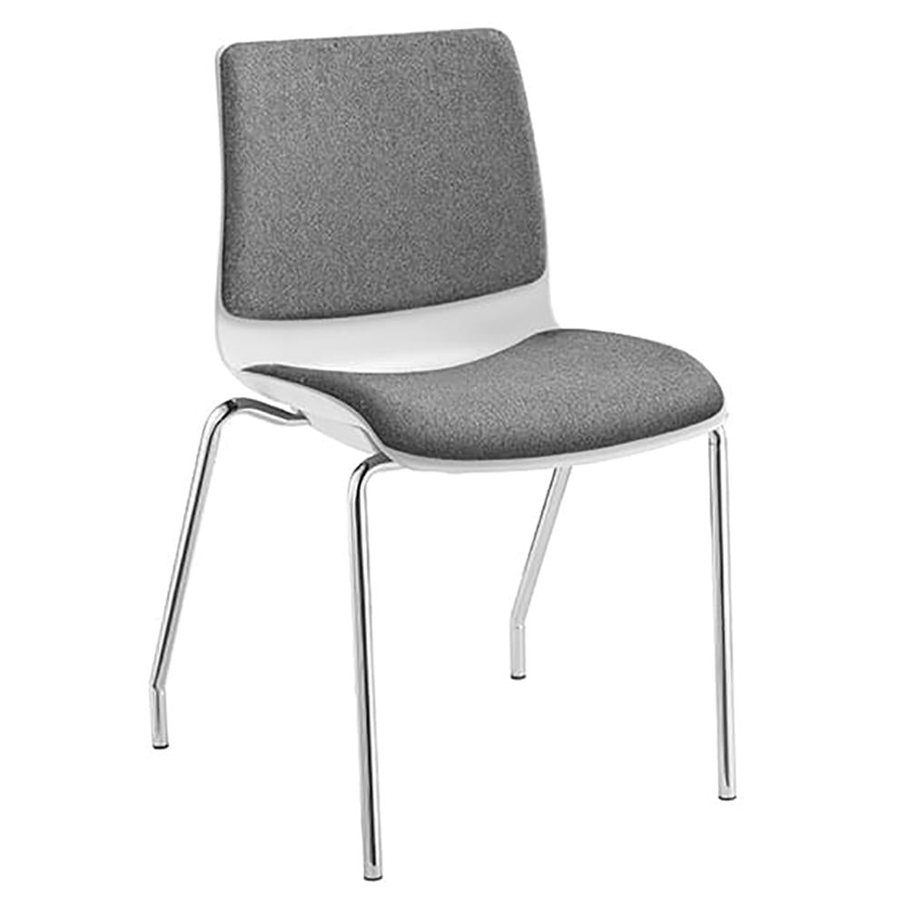 Pod 4 Leg White Shell Upholster Visitor Chair