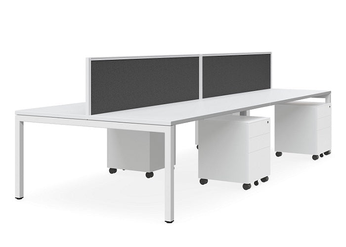 Plaza Linear 6 Person Workstation with Tek 30 Screen