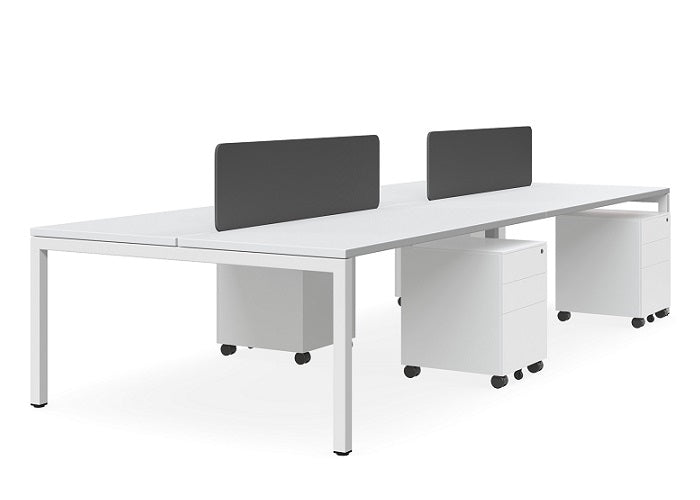 Plaza 4 Person Workstation with Optic Screen