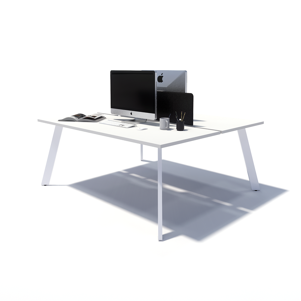 Gen X 2 Person Back to Back White Frame Workstation