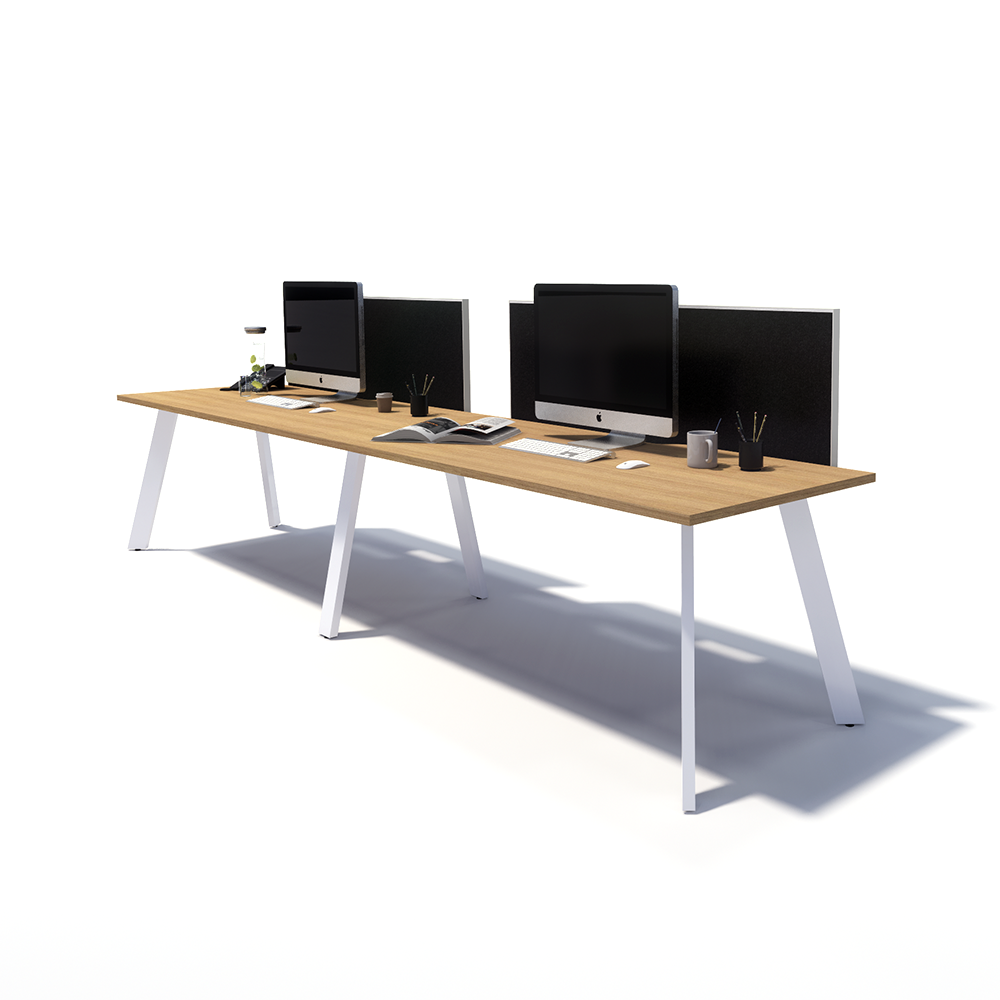 Gen X 2 Person Side by Side White Frame Workstation