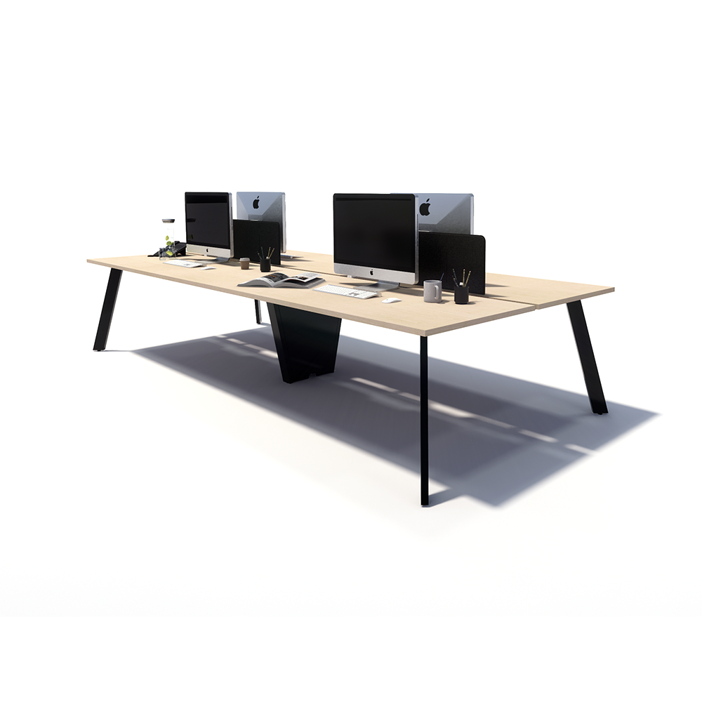 Gen X 4 Person Back to Back Black Frame Workstation