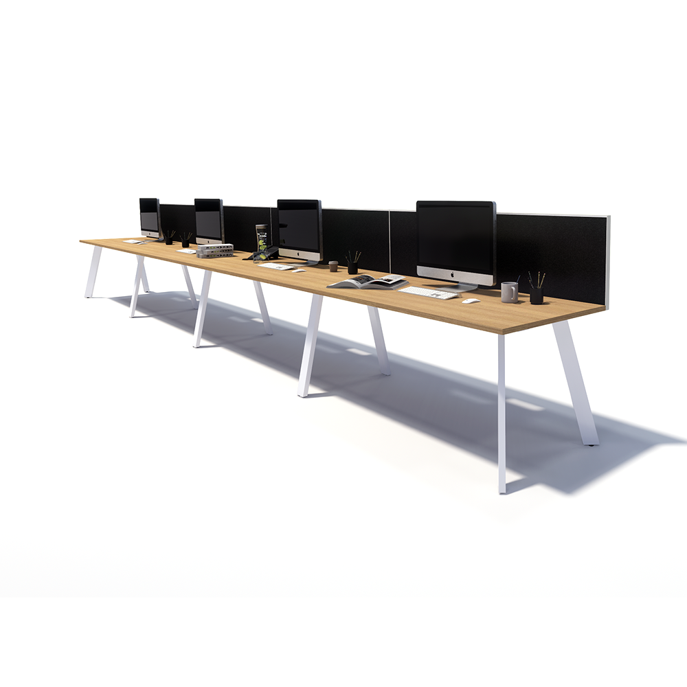 Gen X 4 Person Side by Side White Frame Workstation
