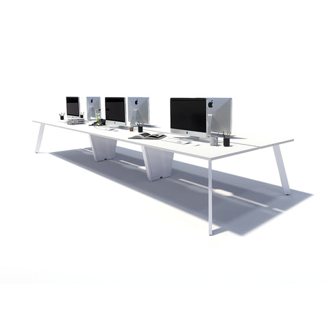 Gen X 6 Person Back to Back White Frame Workstation