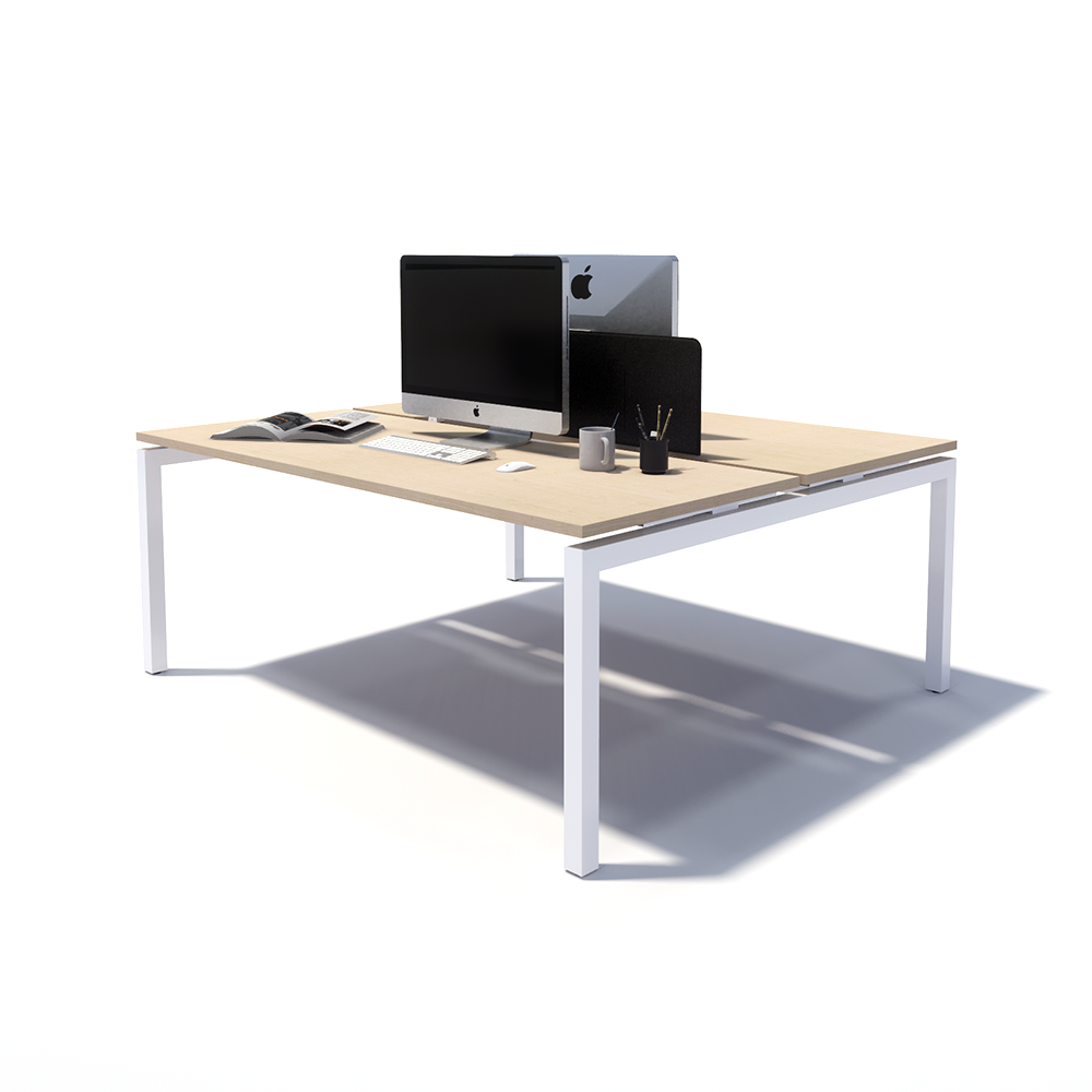 Gen Y 2 Person Back to Back White Frame Workstation
